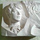 Vintage Sculpture Sergey Esenin Russian Poet Gypsum Bas-relief Bust Soviet Union USSR 1970s