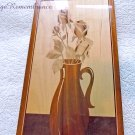 Vintage Marquetry Intarsia Picture Roses Wooden Wall Decor Rare light color