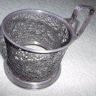 Vintage Melchior Podstakannik Soviet Russian Antique Tea Glass Holder Filigree 1950s USSR