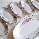 Floral Small Platter Oval Plate Vintage Ceramic Serving Dish Set 6 Soviet USSR 1970s