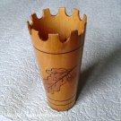 Vintage Soviet Wood Pencil Holder Cup Handmade Russian Retro USSR 1970s
