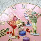 Wall Clock Pink Decor Desserts Sweets Cafe Kitchen Handmade Decoupage on Vinyl Record