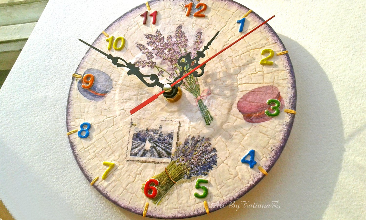 Small Wall Clock Farmhouse Provence Lavender Shabby Chic Handmade Decoupage Vinyl Record Home Decor