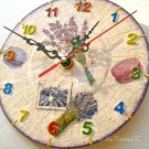 Small Wall Clock Farmhouse Provence Lavender Shabby Chic Handmade Decoupage Vinyl Record Home Decor