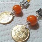 Orange Jade Beads Dangle Drop Ukrainian Coin Earrings Ukraine Trident Handmade Jewelry