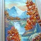 Vintage Soviet Natural Amber Crumb Small Picture Orange Autumn Landscape Wall Decor