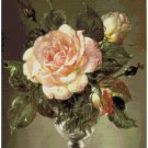 Counted cross stitch pattern paper charts Still life Big Rose flower