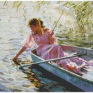 Counted cross stitch pattern paper charts landscape summer river walk