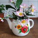 Rustic vintage enamel tea kettle planter pot shabby decor