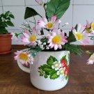Rustic vintage enamel mug planter pot shabby decor