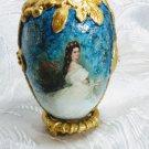 Queen Sisi shabby chic Christmas egg artisan handmade decoupage home decor rose interior ornament