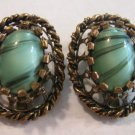 Vintage 50s ~ aqua Czech Glass Clip Earrings Open work