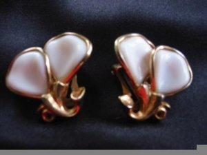 Precious ~ Porcelain Petals crown Trifari Dainty Clip Earrings