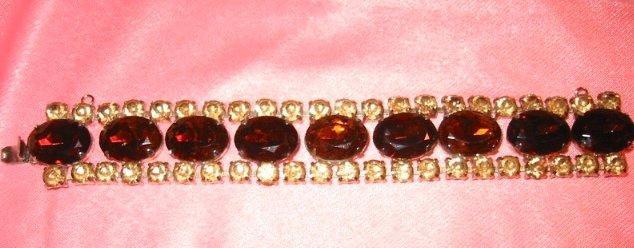 Bold & Beautiful ~ Vintage Amber Art Glass Rhinestone Bracelet