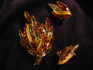 Amber Art glass Rhinestone brooch / pin & Clip Earring Set