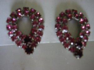 Pink & Ruby Vintage RS Rhinestone tear drop Clip Earrings