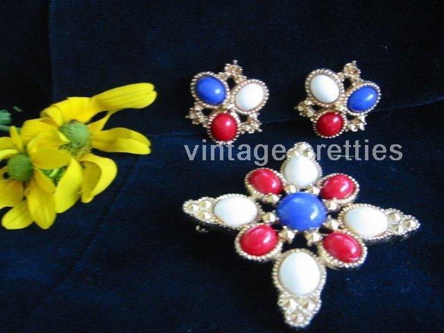 "Red White Blue ~ Patriotic ""Americana"" demi parure Brooch Clip Earrings"