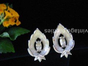 """Crystal Navette"" ~ Silver-tone Rhinestone Sarah Coventry clip Earrings"