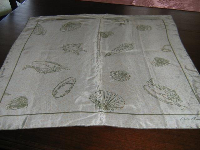 Beautiful vintage Bill Blass Silk Scarf Seashell