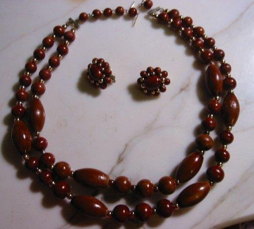 Double strand Necklace Clip Earring Set Vintage Wood beads