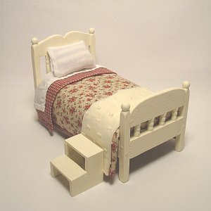 Single Spindle Bed With Bed Springs--Rose Spread