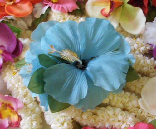 Retro Vintage style Hawaiian flower hair clip seafoam blue