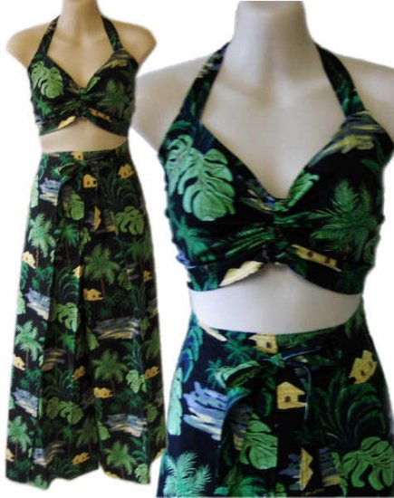 40s 50s Vintage style hawaiian rockabilly pinup sarong pants halter top outfit