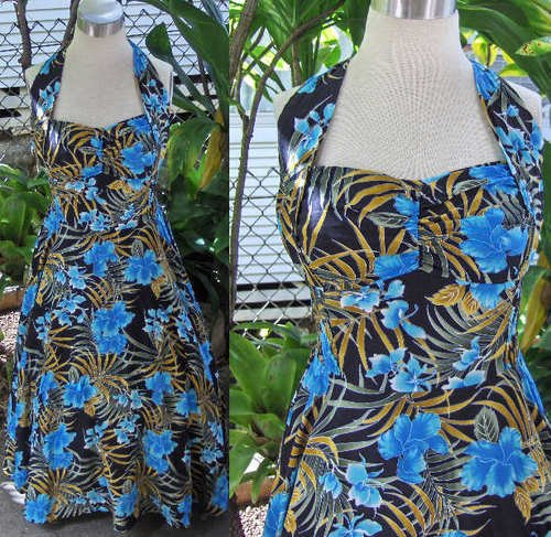 Blue Hibiscus Rockabilly halter dress Rayon VLV