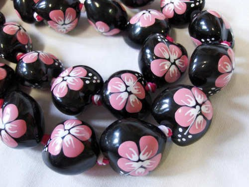 Hawaiian boho necklace kukui nut tropical hibiscus hula luau