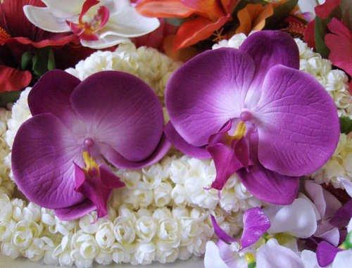 VLV Rockabilly hair clips purple orchid flower Hawaiian