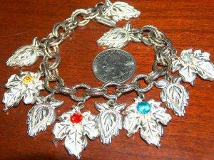 Vintage charm bracelet leaves charms leaf design