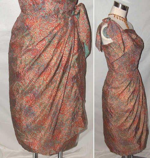 50s Vintage hawaiian dress silk sarong wiggle cocktail bombshell