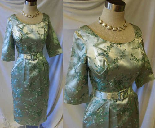 50s Vintage cocktail dress wiggle Alfred Shaheen green