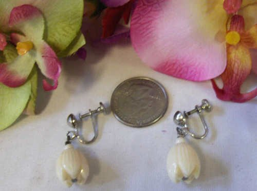 carved Vintage Hawaiian Pikake Earrings Faux Ivory