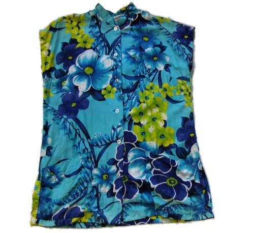1950s Vintage Hawaiian tea-timer blouse ladies shirt