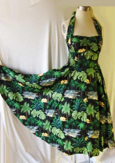 2 50s Vintage style Hawaiian halter dresses