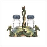 37073 Green Dragons Salt and Pepper Shakers with Glass Holder