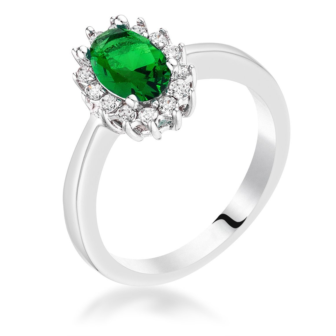 Emerald Green Cubic Zirconia Petite Oval Ring Sizes 5-10 NEW