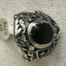 Biker Stainless Steel Black Stone Ring