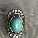 SALE!! Turquoise Silver Plated Decorative Oval Ring Size 7 New