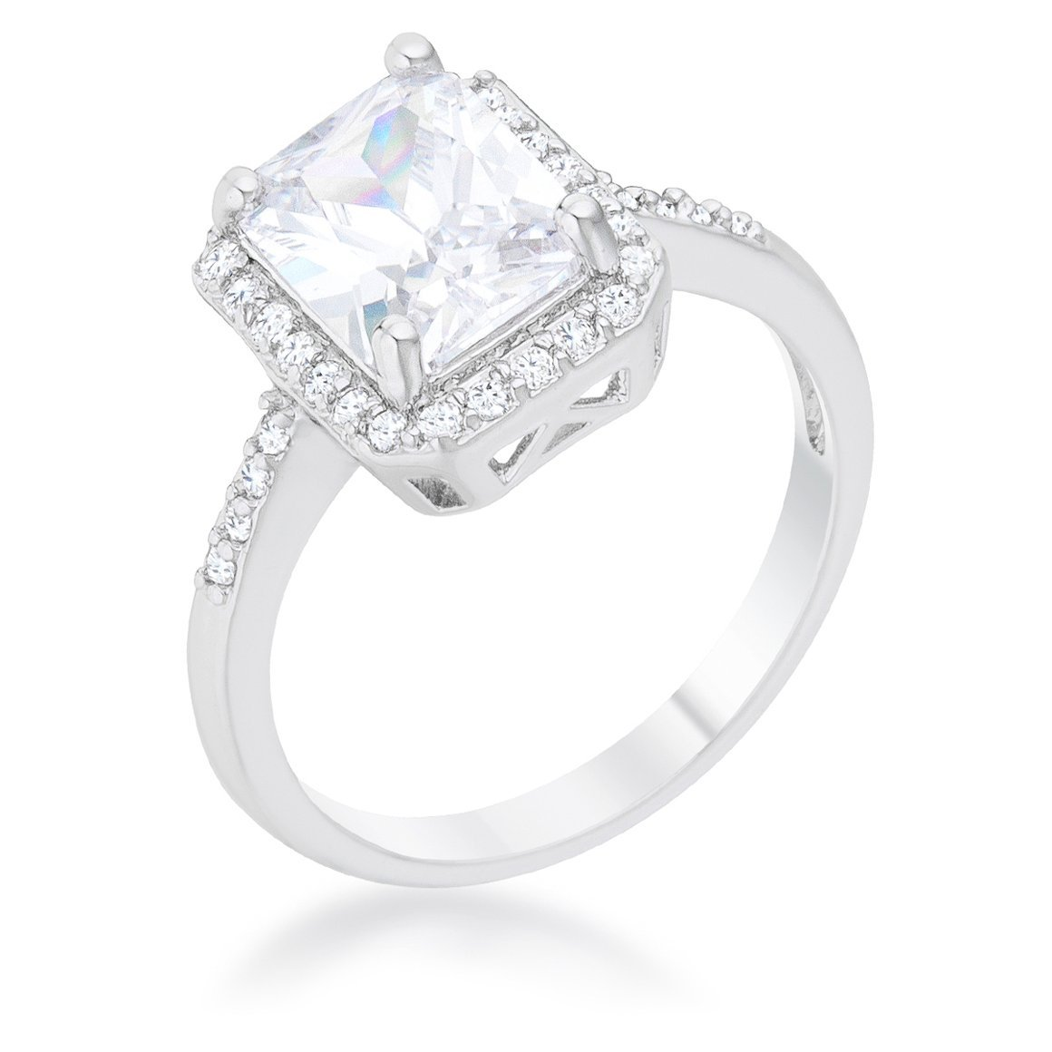 Cubic Zirconia Ariana 2.95 ct Rhodium Plated Classic Ring Just Reduced