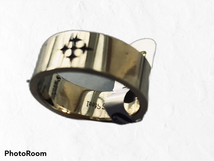 SALE!! Stainless Steel Gold Plated Ring with Cross   Sizes  10.5 & 12  New