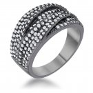 Cubic Zirconia 1.7ct Clear Hematite Contemporary Cocktail Ring  Size 5-10