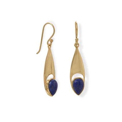 Sterling Silver 14 Karat Gold Plated Pear Shaped Lapis Earrings