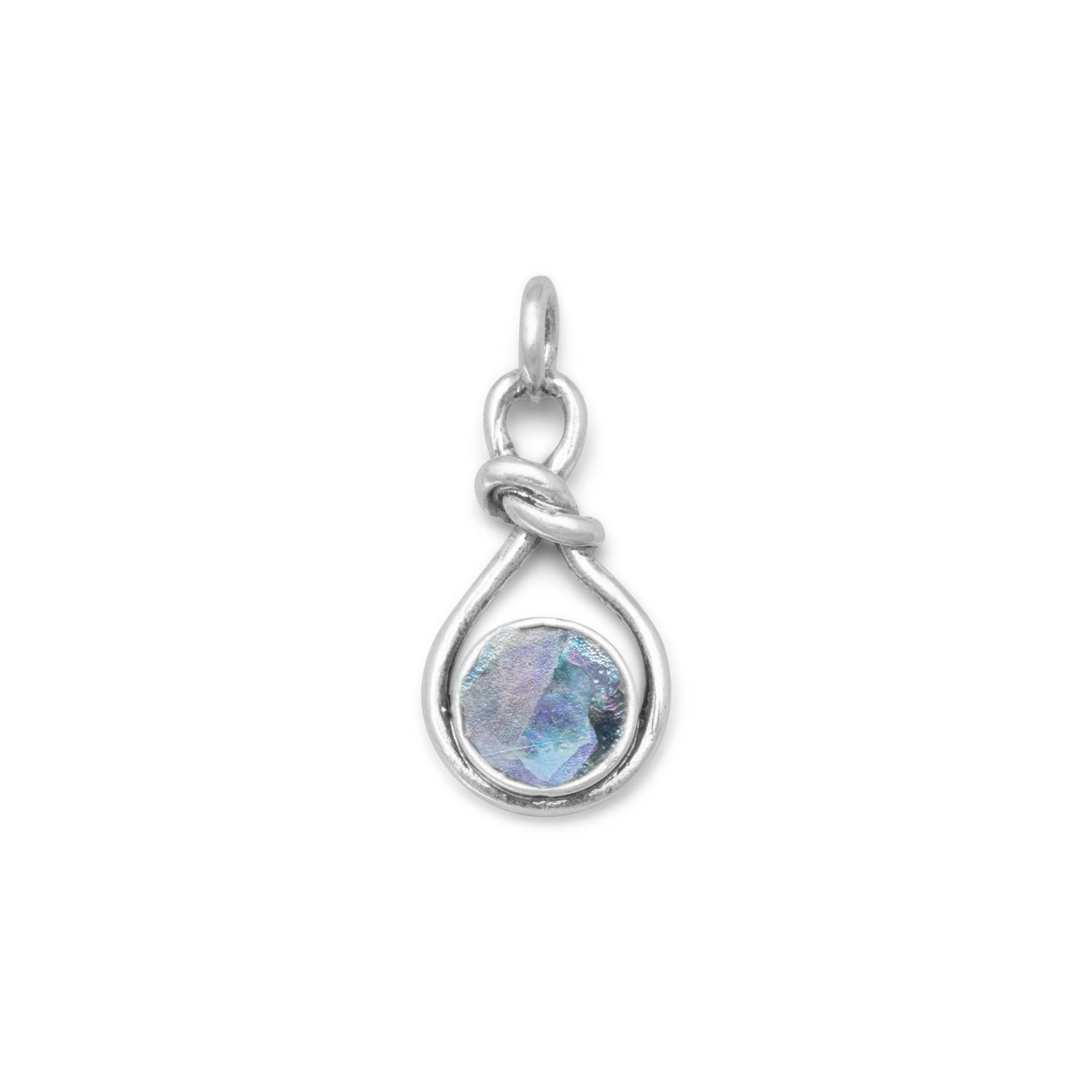 Sterling Silver Roman Glass Knot Style Pendant