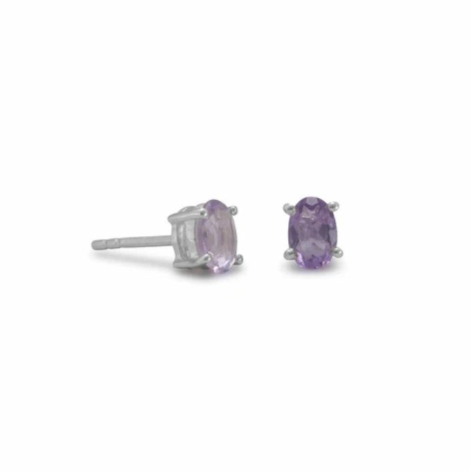 Faceted Oval Amethyst Stud Sterling Silver Earrings - Calming Effect