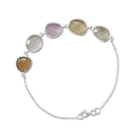 Multicolor Faceted Gemstone Sterling Silver Bracelet-- Feel the Powers of Amethyst