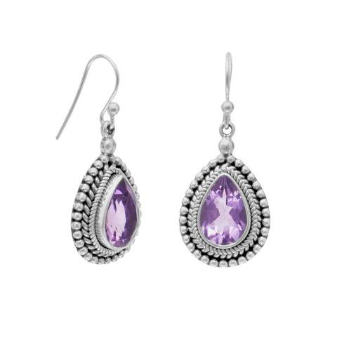 Oxidized Amethyst with Rope and Bead Edge Earrings - Calming Effect