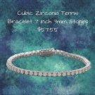"Tennis Bracelet 7"" Rhodium Plated 3 mm CZ --Tennis Bracelet Sterling Silver"