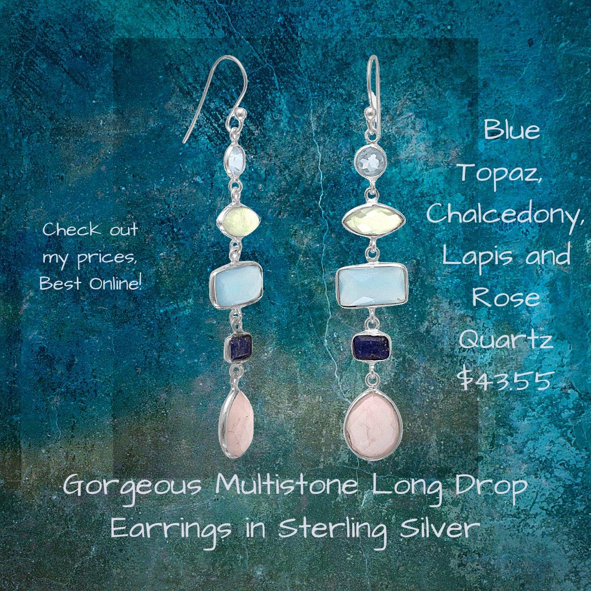 Gorgeous Multi stone Long Drop Earrings in Sterling Silver